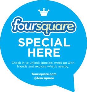 Check-in auf Foursquare und entdecke unsere Specials