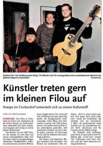Leine-Zeitung über das Konzert von Tim Loud unf Tim Holehouse 2014