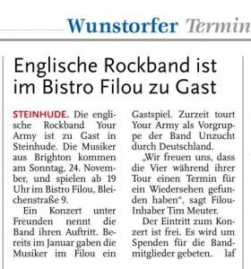 Artikel aus der Leine Zeitung Wunstorf über Your Army