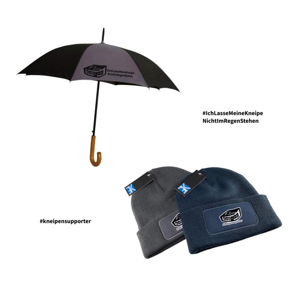 Unterstütze das Filou mit dem Kauf unseres Kneipenschutzschirmes oder einer Kneipensupporter-Mütze